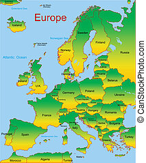 map of european continent - Detailed vector map of european...
