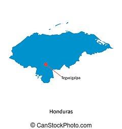 Detailed vector map of Honduras and capital city Tegucigalpa