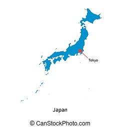 Detailed vector map of Japan and capital city Tokyo
