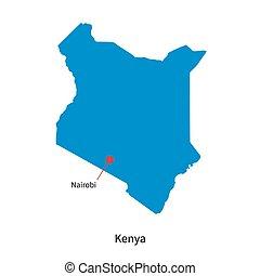 Detailed vector map of Kenya and capital city Nairobi