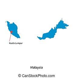 Detailed vector map of Malaysia and capital city Kuala Lumpur