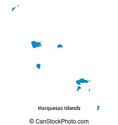 Detailed vector map of Marquesas Islands