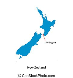 Detailed vector map of New Zealand and capital city...