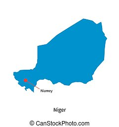 Detailed vector map of Niger and capital city Niamey