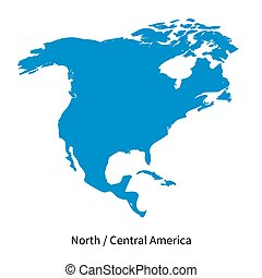 Detailed vector map of North and Central America Region on...