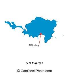 Detailed vector map of Sint Maarten and capital city Philipsburg