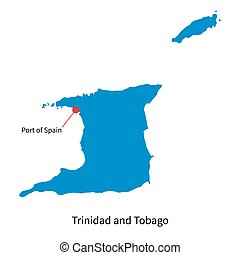 Detailed vector map of Trinidad and Tobago with capital city...