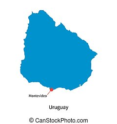Detailed vector map of Uruguay and capital city Montevideo