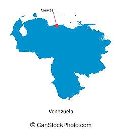 Detailed vector map of Venezuela and capital city Caracas