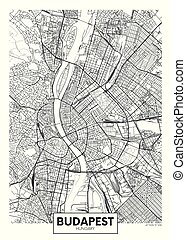 Detailed vector poster city map Budapest
