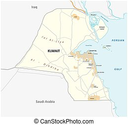 Detailed vector road map of the state Kuwait