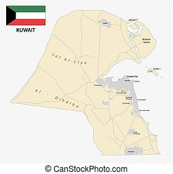 Detailed vector road map of the state Kuwait with Flag