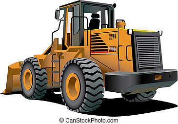 bulldozer - detailed vectorial image of bulldozer isolated...