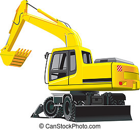 excavator - detailed vectorial image of excavator isolated ...