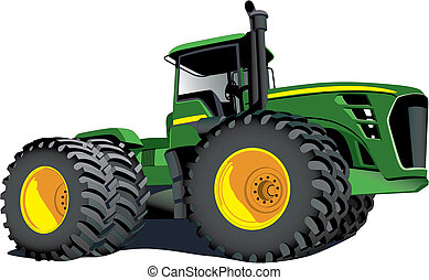 Detailed vectorial image of large agrarian tractor isolated on white background