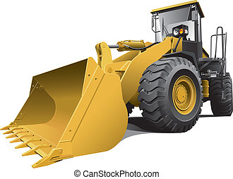 Detailed vectorial image of light-brown large loader, isolated on white background. Contains gradients. Easily edit: file is divided into logical layers and groups.
