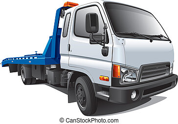Detailed vectorial image of modern tow truck, isolated on white background. Contains gradients. No strokes and blends.