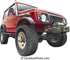 red rally jeep - Detailed vectorial image of red rally jeep...