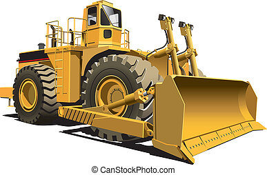 detailed vectorial image of wheeled dozer, isolaned on white background. Contains gradients.