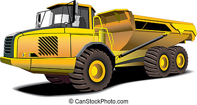dumper - Detailed vectorial image of yellow dumper isolated...