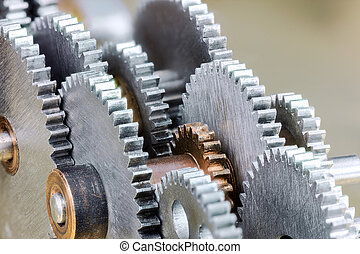 detailed view of gearwheels from industrial machine