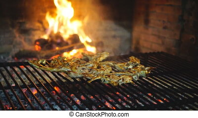 Lamb chops on grill - Detailed view of Lamb chops on grill ...