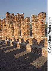 Detailed view of old brick bridge in Verona