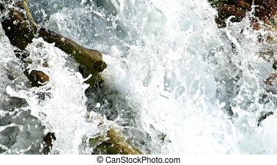 Detailed view of the beautiful waterfalls in Plitvice National Park, Croatia