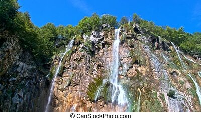 Detailed view of the beautiful waterfalls in Plitvice National Park