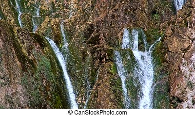 Detailed view of the beautiful waterfalls in Plitvice...