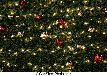 detailed view on a christmas tree with ornaments