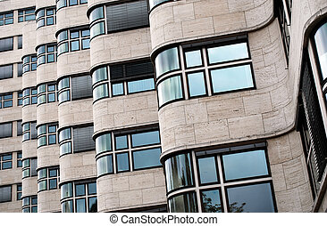 detailed view on the facade of the shell-haus in berlin, germany. architect of the bauhaus style building was Emil Fahrenkamp