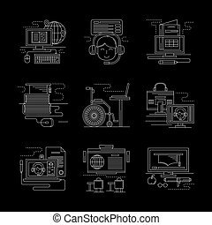 Detailed white line online education vector icons