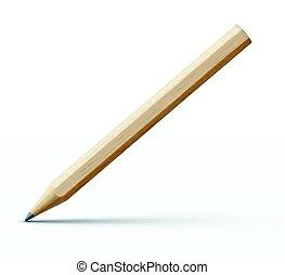 Detailed wooden pencil - Vector illustration of sharpened...