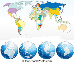Detailed World Map with Countries, political map with...
