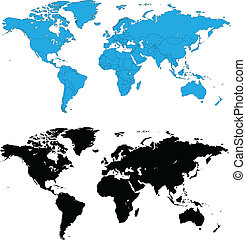 Detailed world maps vector - Two detailed world maps, one...
