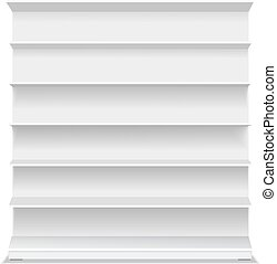 detailhandel, lege, vector, achtergrond., vitrine, lang, producten, leeg, shelf., witte , illustratie, supermarkt, 3d