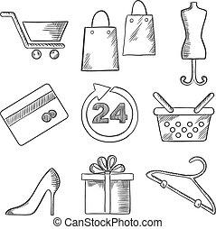 detailhandel, zakelijk, en, shoppen , sketched, iconen