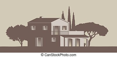 detailled mediterranean style vector country home with trees