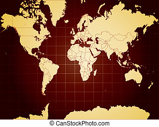 detailní, mapa světa