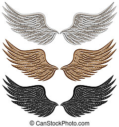 detailní, ptáček, křídla