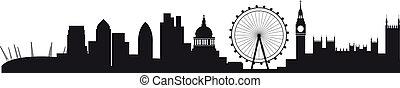 detailní, silueta, o, londýn, městská silueta