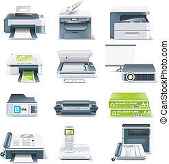 detailní, vektor, počítač končiny, ikona