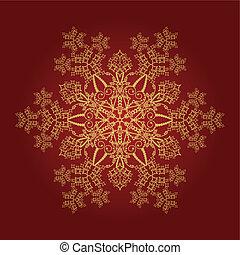 detailní, zlatý, sněhová vločka