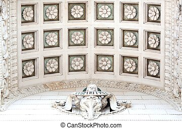 Details and roof at the entrance of the basilica of Fourviere in Lyon, France