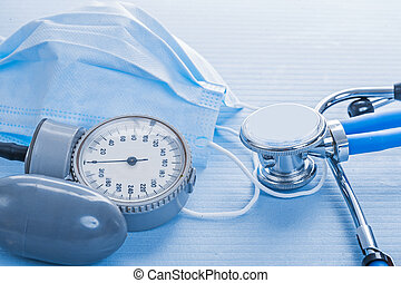 details blood pressure monitor stethoscope surgical mask medical