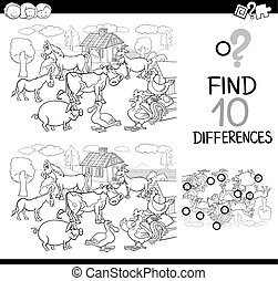details game for coloring - Black and White Cartoon ...
