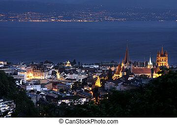 Lausanne, Geneva lake, Switzerland - details night panorama...
