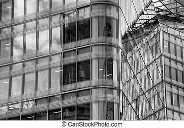 Details of a modern glass skyscraper office building