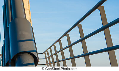 Details of a rope bridge over the river IJssel